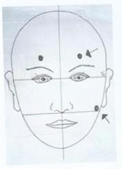 Tekening gezicht met acupressuurpunten voor rust in je hoofd